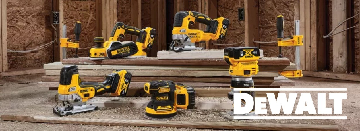 DeWalt logo with multiple power tools on wood