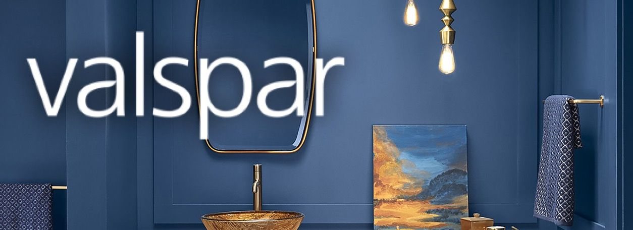 Valspar logo with blue bathroom