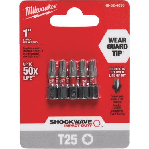 Milwaukee Shockwave T25 TORX Insert Impact Screwdriver Bit (5-Pack)