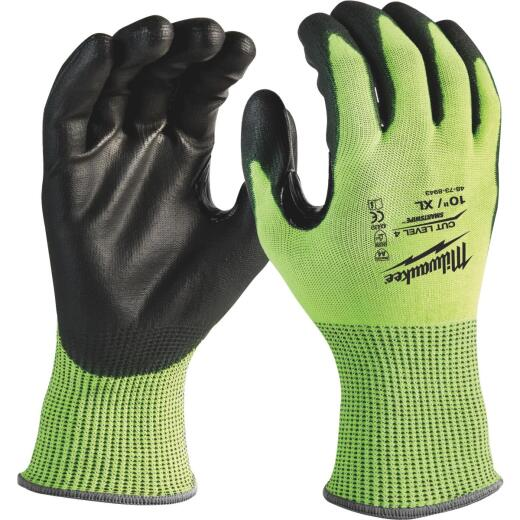 Milwaukee Men's XL Cut Level 2 High Vis Polyurethane Dipped Glove
